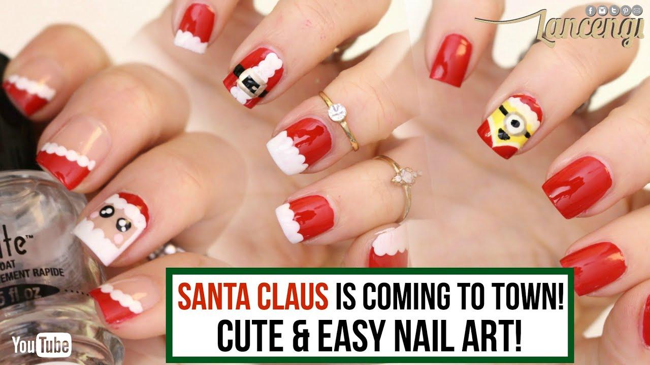 Diy Cute Easy Christmas Nail Polish Designs Santa Claus Nails