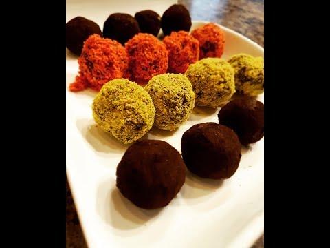 Dark chocolate truffles with spices.