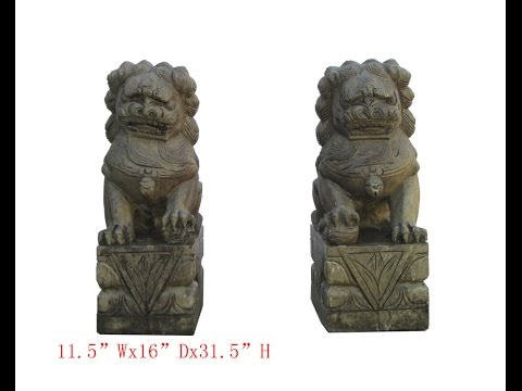 Huge Pair Chinese Antique FenShui Stone Carving Foo Dog WK28