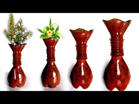 how to make easy flower vase with plastic bottle / plastic bottle flower vase easy