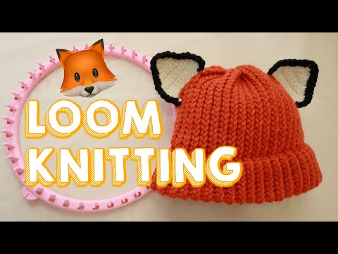 LOOM KNITTING HAT FOR BEGINNERS | Beanie With Fox Ears!