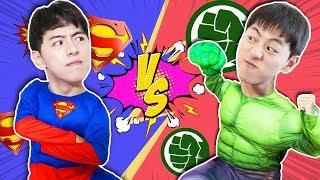 슈퍼히어로 슈퍼맨 vs 헐크 도와줘요! Super hero Help my friends in danger like BoramTube- 마슈토이 Mashu ToysReview