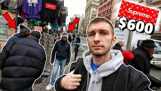 BUYING FAKE YEEZYS & LV SUPREME in NYC CHINATOWN! THEY TRIED TO SCAM US