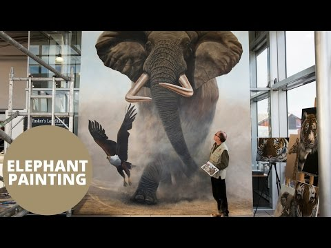 Artist paints the world's biggest painting of an elephant