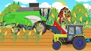 कृषि कार्य - ट्रैक्टर और बच्चों के लिए मकई फसल काटने | कार्टून ट्रैक्टर - Bajki Traktory डीएलए Dzieci