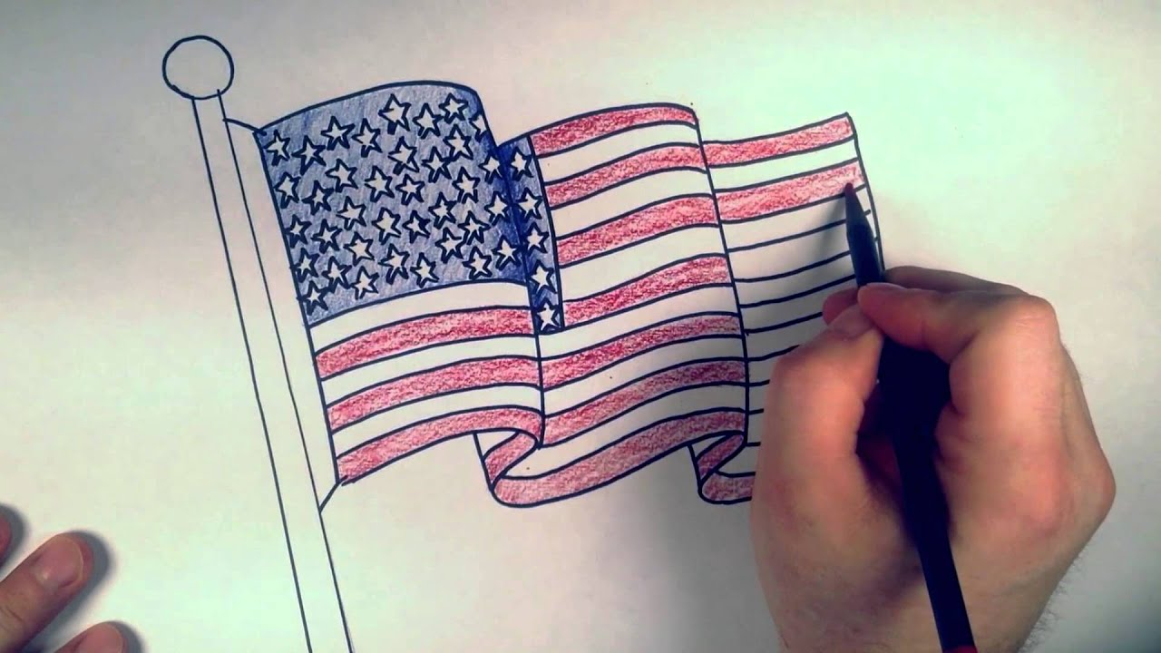 How to Draw an American Flag: Coloring Lesson | RBH - YouTube
