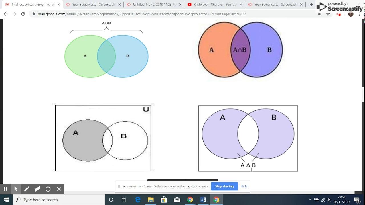 Set Theory  Lecture - 4  Venn Diagrams