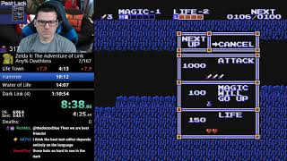 (1:08:56) Zelda 2 Deathless speedrun with 3 deaths
