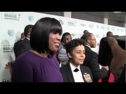 Roslyn M. Brock with Vice Admiral Michelle Howard speaks at 44th NAACP Image Awards Red Carpet