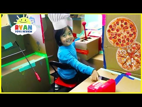 Ryan Pretend Play with Box Fort Pizza Delivery and Ice Cream Truck Food Toys!