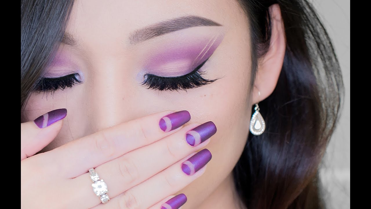 Purple makeup and nails tutorial - YouTube