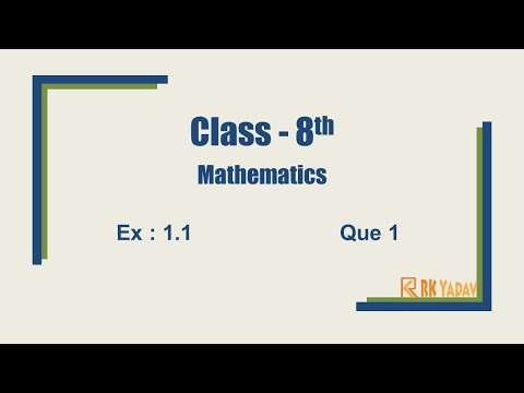 Ex 1.1 Question 1 Class 8 Chapter 1 Rational Number  @RK Yadav