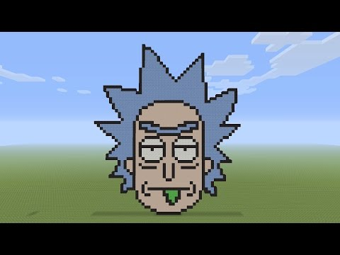 Minecraft Pixel Art - Rick Head From Rick and Morty