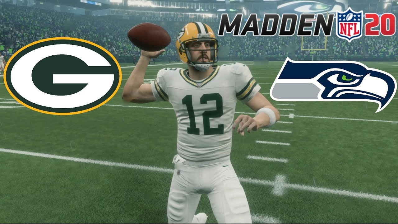 best service 9490c de25e MADDEN 20 GREEN BAY PACKERS VS. SEATTLE SEAHAWKS GAMEPLAY!