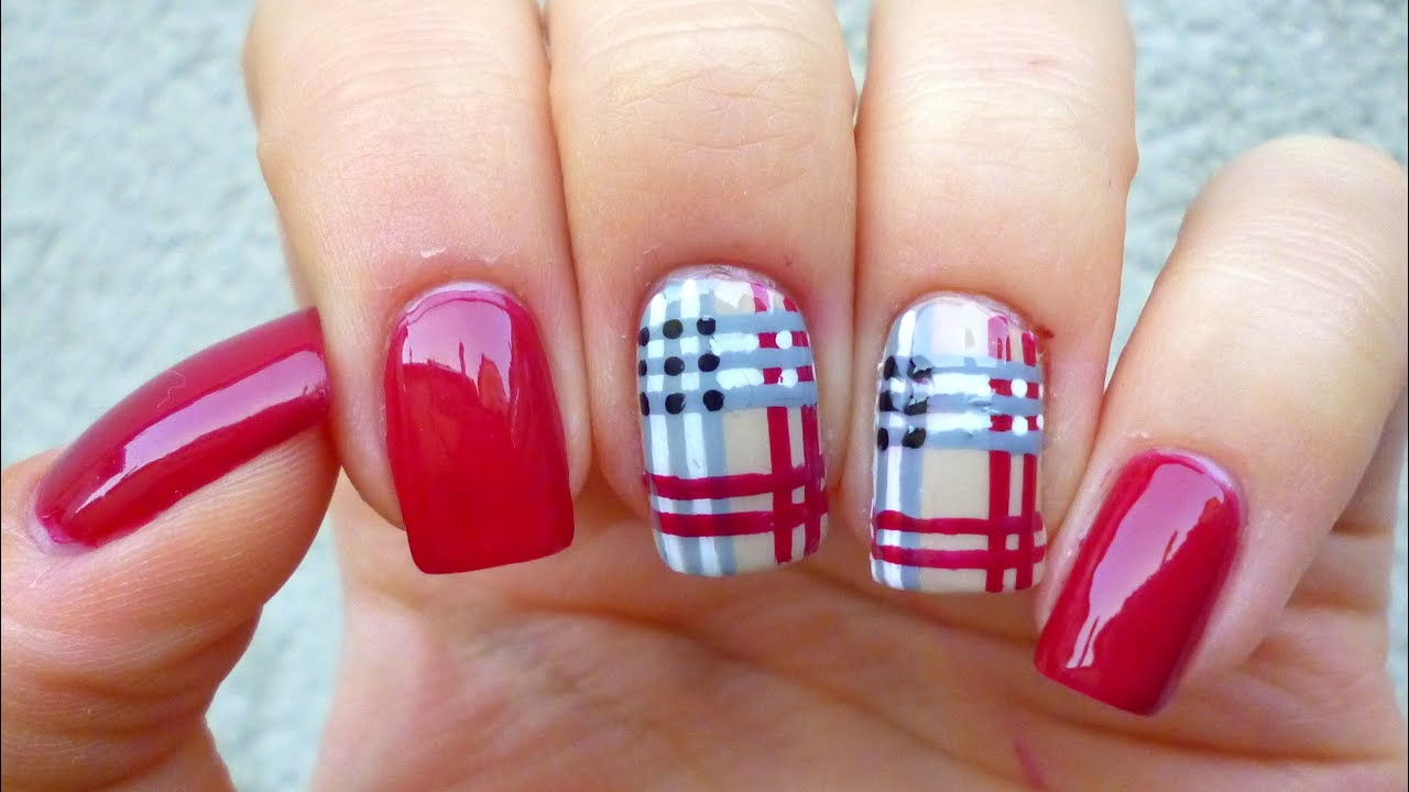 Plaid nail art tutorial youtube prinsesfo Choice Image