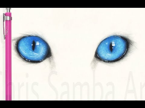 Drawing Realistic Blue Cat Eyes - YouTube