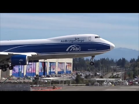 AirBridgeCargo Boeing 747-8F Test Flight Landing w/ RAT Hum @ KPAE Paine Field