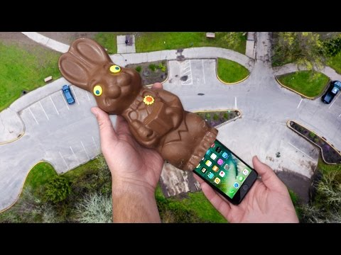 Thumbnail: Can iPhone 7 Survive in Giant Chocolate Easter Bunny's Booty? 100 FT Drop Test