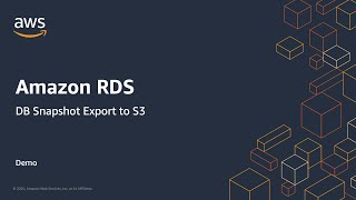 Amazon RDS Snapshot Export to S3