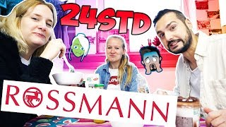 24 STUNDEN NUR ESSEN VON ROSSMANN CHALLENGE Ganzen Tag Drogerie Essen für Kathi, Kaan & Nina   Vlog