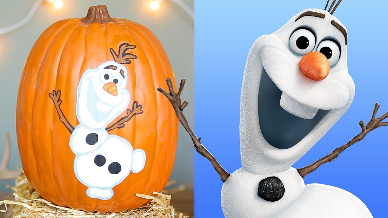 Frozen Pumpkin Painting Disney Diy Youtube