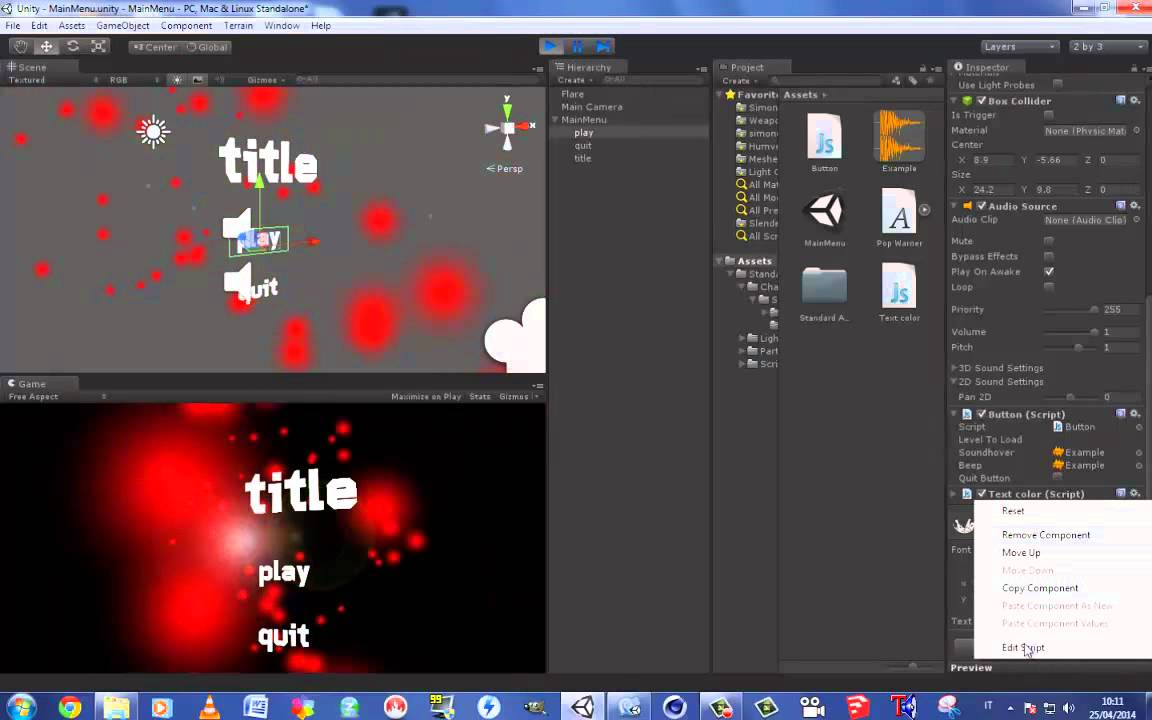 Unity 3d | Download simple main menu project