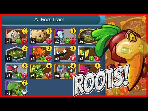 Beta-Carrotina's Grave Busting All Root Team - Plants vs Zombies Heroes Gameplay
