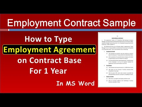 How to write Employment Contract for Sales Manager in MS Word   Job Employment Agreement Sample