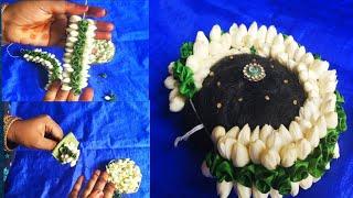 Jasmine + artificial flower jadai veni making/easy method to string Bridal flower
