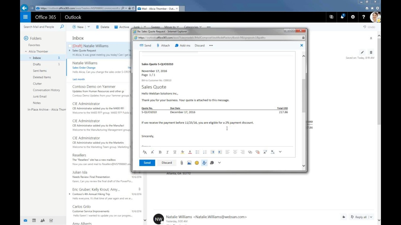 Microsoft Dynamics 365 Outlook Integration Youtube