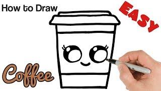 How to Draw Cute Coffee Drink   Super Easy and Kawaii