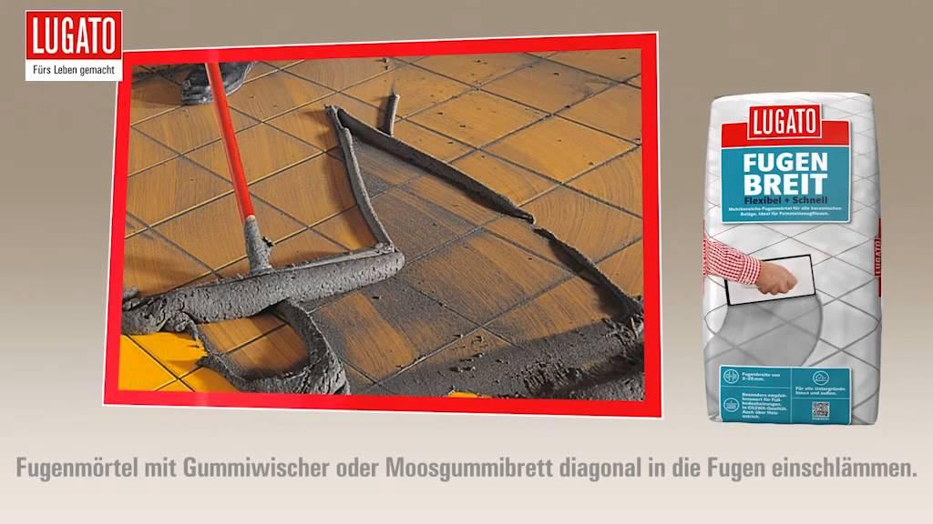 Anleitung Bodenfliesen Wandfliesen Verfugen Mit Lugato Fugenbreit - Fliesen fugen einschlämmen