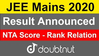 JEE Mains 2020 January | Result Announced | NTA Score - Rank Relation | How To Check