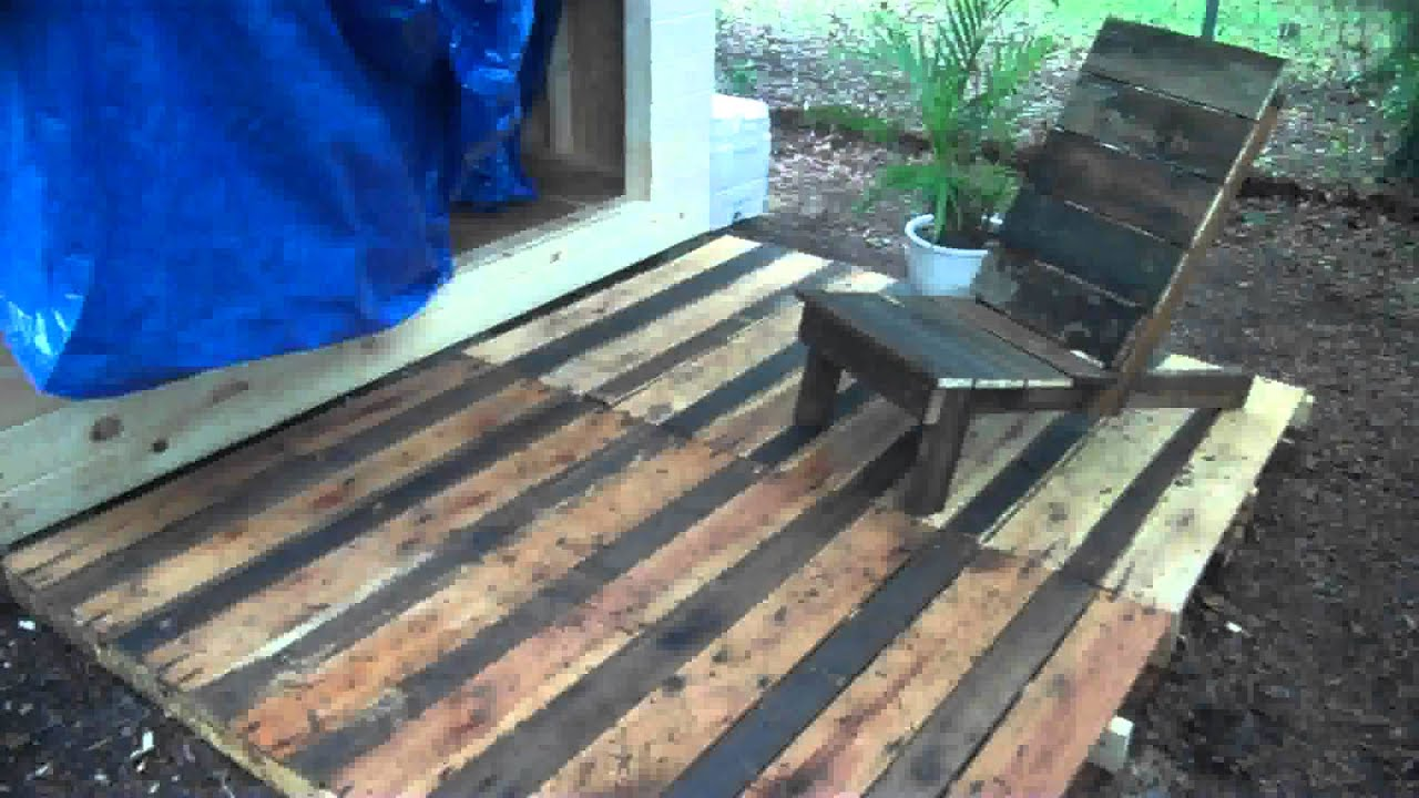Pallet wood project a deck and chair made from free recycled pallet wood project a deck and chair made from free recycled wood diy decking youtube baanklon Images