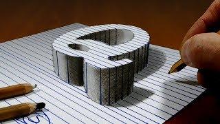 Draw a Letter Q on Line Paper   3D Trick Art
