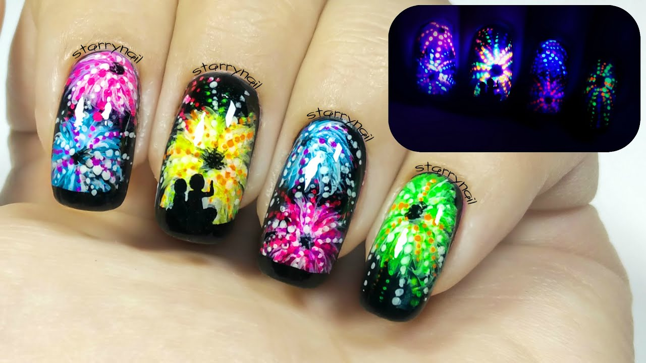 Fireworks glow in the dark freehand nail art youtube prinsesfo Images