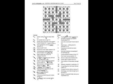 Telegraph Prize Crossword 29497 Answers And Walkthrough Sat 17th October 2020 Youtube