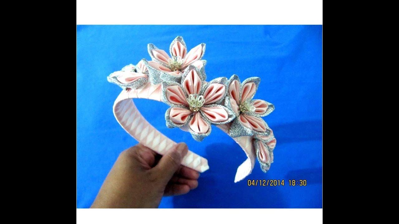 flores kanzashi tocados de lujo diademas en cintas para el