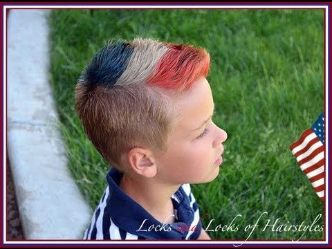patriotic 4th of july hairstyle red white blue fohawk
