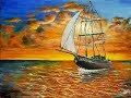 Acrylic Painting Sailboat at Sunset Step by Step.| Yelkenli Akrilik Resim.. Kolay Resim Çizmek