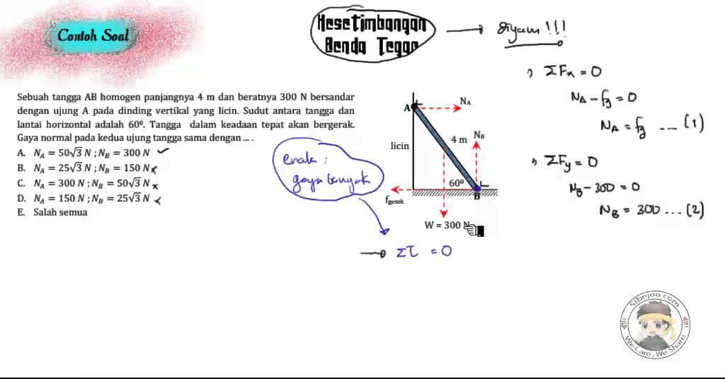 • benda mempunyai berat 400 n dan digantung pada keadaan diam. Contoh Soal Fisika Dinamika Rotasi Dan Kesetimbangan Benda