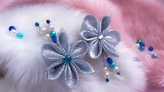 DIY: Kanzashi flower / Brooch with silver glitter ribbon