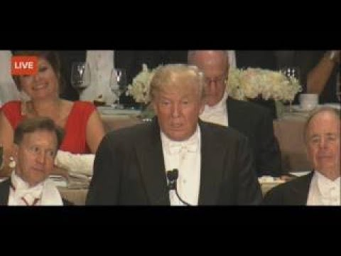 Trump ROASTS Hillary To Her FACE Alfred E Smith Memorial Charity Dinner