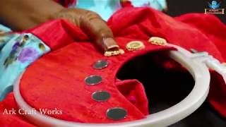 Creative Mirrors Stitching Hand Works On Neck Churidar For Beginners | Hand Embroidery Designs