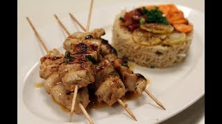 Skewered Chicken With Brown Rice | Sanjeev Kapoor Khazana