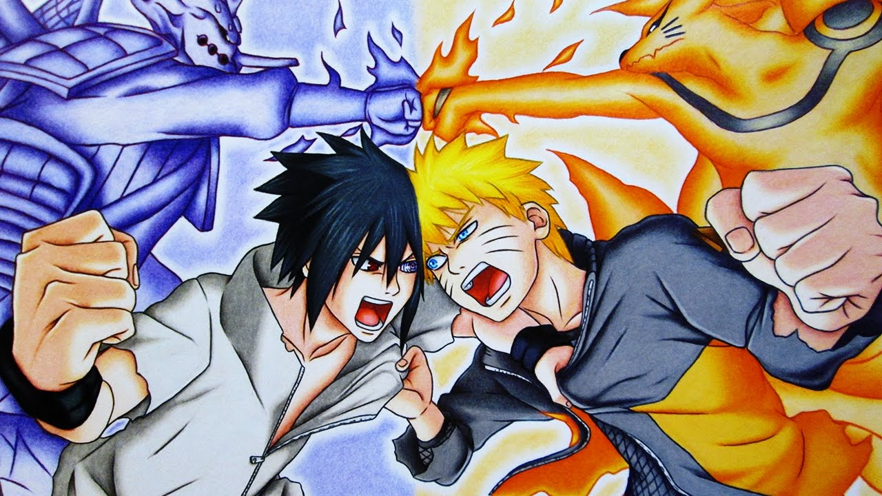 Speed drawing naruto vs sasuke final battle naruto shippuuden youtube
