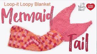 Finger Knit Loopy Mermaid Tail Blanket -- Loop-it™ Yarn