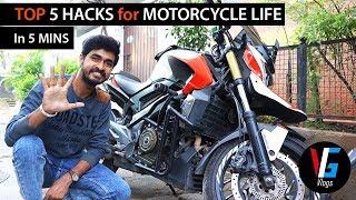 Top 5 Motorcycle Life Hacks in 5mins   VG Vlogs