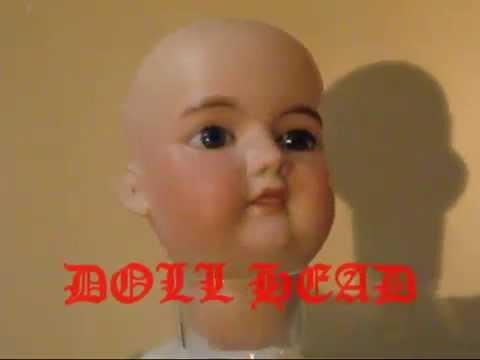 Antique Doll Head Bisque Porcelain Rare Unique Sleepy Glass Eyes