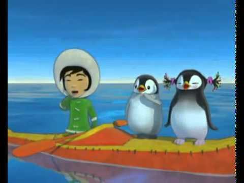 Cute little Eskimo and penguins